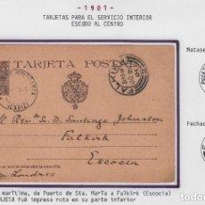 Sellos: ENTERO POSTAL Nº 37 SN. SIN NUMERACIÓN ALFONSO XIII CADETE DE CÁDIZ A ESCOCIA , JUN 1901. Lote 81594872