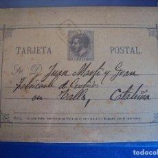 Selos: (PS-51658) ENTERO POSTAL ALFONSO XII . BREA - VALLS (TARRAGONA). Lote 83148840