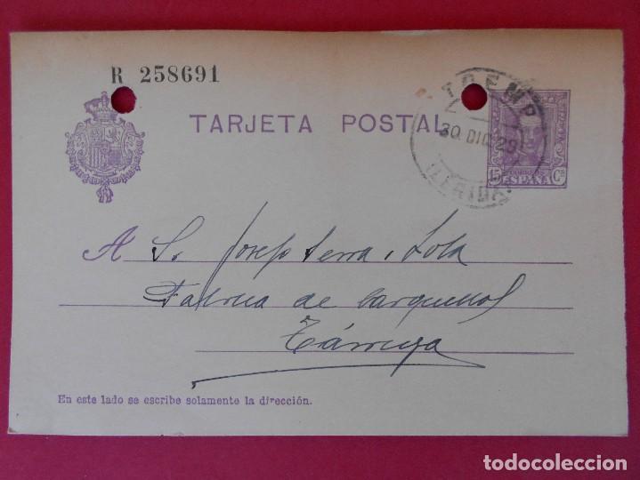 ENTERO POSTAL ALFONSO XIII - TREMP (VIUDA DE PIO PAGES) A TARREGA (LÉRIDA) - AÑO 1928 . R-5598 (Sellos - España - Entero Postales)