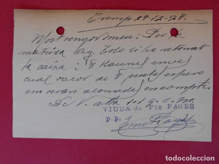 Sellos: ENTERO POSTAL ALFONSO XIII - TREMP (VIUDA DE PIO PAGES) A TARREGA (LÉRIDA) - AÑO 1928 . R-5598 - Foto 2 - 83715160