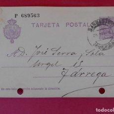 Stamps - ENTERO POSTAL ALFONSO XIII -BARBASTRO, HUESCA(RAMON SALAZAR ) A TARREGA (LÉRIDA) - AÑO 1928 . R-5600 - 83715404