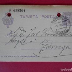 Stamps - ENTERO POSTAL, ALFONSO XIII - DE BARBASTRO (HUESCA) A TARREGA (LÉRIDA) - AÑO 1928 .. R-5602 - 83735576