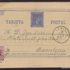 Sellos: ENTERO POSTAL Nº 8 TIP I ALFONSO XII NOV 1875 . FRANQUEO COMPLEMENTARIO 15CTS SEVILLA /BARCELONA. Lote 96621691