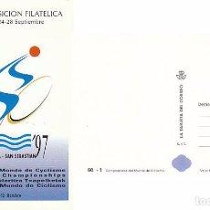 Sellos: TARJETA DEL CORREO 60-1, CAMPEONATO DEL MUNDO DE CICLISMO 1997 EN SAN SEBASTIAN, SIN USAR. Lote 136396764
