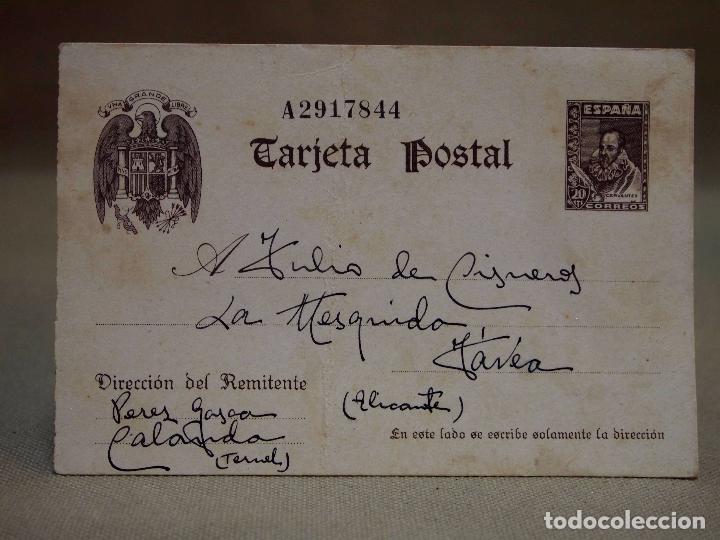 TARJETA POSTAL, ENTERO, CERVANTES, CALANDA - TERUEL, JAVEA - ALICANTE, 1940 (Sellos - España - Entero Postales)