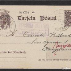 Sellos: ENTERO POSTAL Nº 83 CERVANTES -CENSURA MILITAR RINCON DE SOTO ( LOGROÑO )- AÑO 1939 DEST PAMPLONA. Lote 102830095