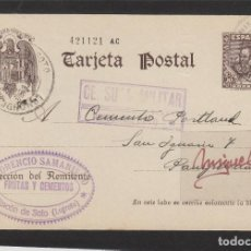 Selos: ENTERO POSTAL Nº 83 CERVANTES -CENSURA MILITAR RINCON DE SOTO ( LOGROÑO )-1939 .FLORENCIO SAMANIEGO. Lote 102830395