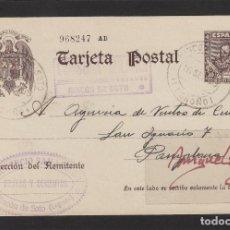 Sellos: ENTERO POSTAL Nº 83 CERVANTES -CENSURA MILITAR RINCON DE SOTO ( LOGROÑO )-1939 .FLORENCIO SAMANIEGO. Lote 102830495