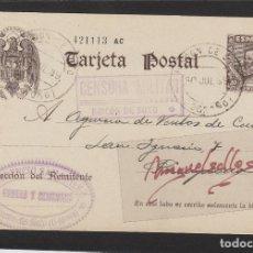 Sellos: ENTERO POSTAL Nº 83 CERVANTES -CENSURA MILITAR RINCON DE SOTO ( LOGROÑO )-1939 .FLORENCIO SAMANIEGO. Lote 102830943