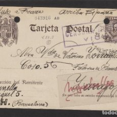 Sellos: ENTERO POSTAL Nº 83 CERVANTES -CENSURA MILITRAR VICH ( BARCELONA ) - 1939 . DEST ZARAGOZA LLEGADA . Lote 102832307