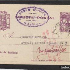 Sellos: ENTERO POSTAL Nº 81 -CENSURA MILITAR DE NÁJERA ( LA RIOJA )- AÑO 1938 DESTINO PAMPLONA -PABLO OLARTE. Lote 102832975