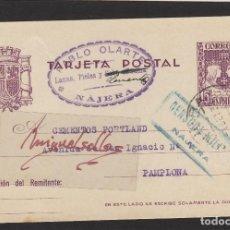 Sellos: ENTERO POSTAL Nº 81 -CENSURA MILITAR DE NÁJERA ( LA RIOJA )- AÑO 1938 DESTINO PAMPLONA . Lote 102833207