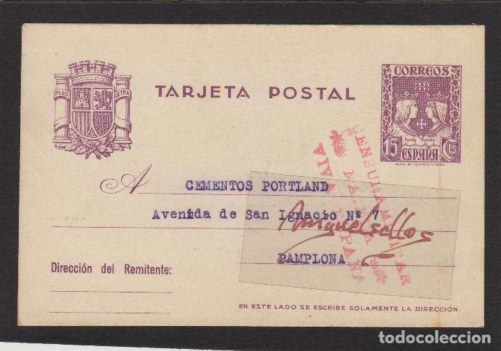 ENTERO POSTAL Nº 81 -CENSURA MILITAR DE NÁJERA ( LA RIOJA )- AÑO 1938 DESTINO PAMPLONA (Sellos - España - Entero Postales)