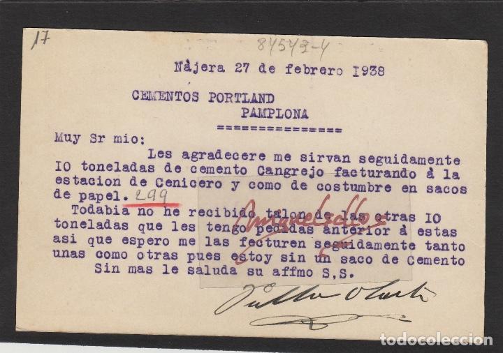 Sellos: ENTERO POSTAL nº 81 -CENSURA MILITAR DE NÁJERA ( La Rioja )- año 1938 destino PAMPLONA - Foto 2 - 102833311