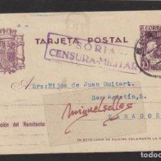Sellos: ENTERO POSTAL Nº 81 -CENSURA MILITAR SORIA - AÑO 1938 DESTINO ZARAGOZA . Lote 102833771