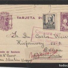 Sellos: ENTERO POSTAL Nº 81-CENSURA MILITAR SAN SEBASTIAN (GUIPÚZCOA )-1938 DEST ALEMANIA .FRANQUEO COMPLEME. Lote 102833995