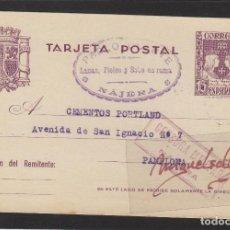 Sellos: ENTERO POSTAL Nº 81 -CENSURA MILITAR DE NÁJERA ( LA RIOJA )- AÑO 1938 DESTINO PAMPLONA PABLO OLARTE. Lote 102968255