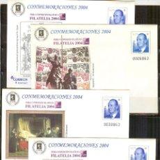 Francobolli: SEP 96 ENTERO POSTAL FILATELIA 2004 ISABEL LA CATOLICA EL QUIJOTE CERVANTES 4 SOBRES NUEVOS. Lote 107596563