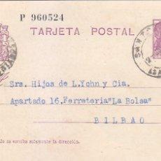 Sellos: REPUBLICA ESPAÑOLA MATRONA E POSTAL EDIFIL 69 CIRCULADO 1936 SANTOÑA SANTANDER CANTABRIA-BILBAO. MPM. Lote 26731540