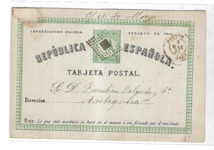 Sellos: ENTERO POSTAL. REPUBLICA ESPAÑOLA. CIRCULADO. 1874. VER IMAGEN - Foto 2 - 65020411