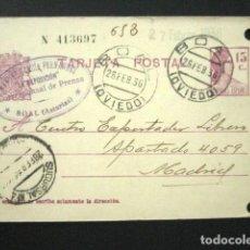 Sellos: ENTERO POSTAL PRIVADO. MANUEL GARCÍA FERNÁNDEZ LA EXPOSICIÓN PRENSA BOAL ASTURIAS. 1936. PRIVATIZADO. Lote 126240911