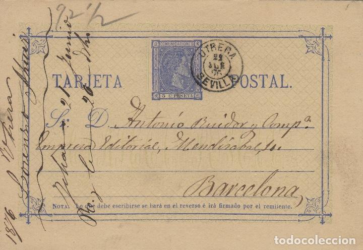 ENTERO POSTAL .-ALFONSO XII 1875 Nº 8 MATASELLOS FECHADOR UTRERA (SEVILLA)/ BARC (Sellos - España - Entero Postales)