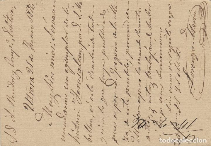 Sellos: ENTERO POSTAL .-ALFONSO XII 1875 nº 8 matasellos fechador UTRERA (Sevilla)/ barc - Foto 2 - 127925419