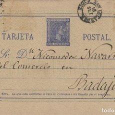 Sellos: ENTERO POSTAL .-ALFONSO XII 1875 Nº 8 . SAN LUCAR DE BARRAMEDA ( CÁDIZ) / BADAJOZ º1877. Lote 127925823