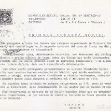 Selos: ENTERO POSTAL IMPRESION PRIVADA SOFIMA PRIMERA SUBASTA SOCIAL CIRCULADO 1975. BONITO Y RARO ASI. MPM. Lote 52453808