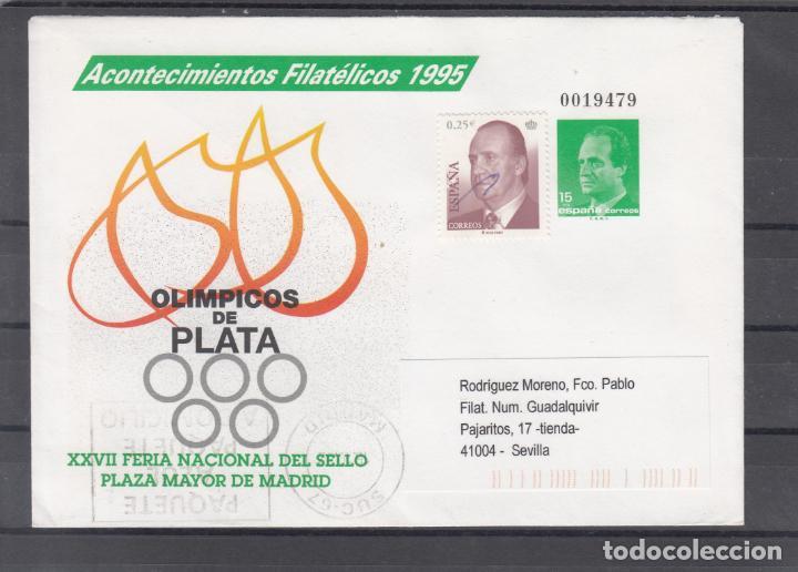 ESPAÑA S.E.P. .27A CIRCULADO €, ACONTECIMIENTOS FIL. OLIMPICOS DE PLATA, REMITE ANFIL TAMPON GRANDE (Sellos - España - Entero Postales)