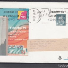 Sellos: ESPAÑA S.E.P. .21 CIRCULADO, FERIA Y EXP. FIL. FILATELIA 93, MADRID, REMITE APF (CALLE MAYOR). Lote 132637978