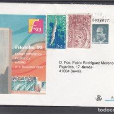 Sellos: ESPAÑA S.E.P. .21 CIRCULADO, FERIA Y EXP. FIL. FILATELIA 93, MADRID, REMITE APF (ENTRADA POR PLAZA). Lote 132638206