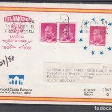Sellos: ESPAÑA S.E.P. .11 CIRCULADO CERTIFICADO, EXP. FIL. FILAMODER, MADRID, REMITE APF (CALLE MAYOR). Lote 132644782