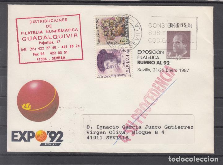 ESPAÑA S.E.P. ..6 CIRCULADO, EXPO 92, EXP. FIL. RUMBO AL 92, SEVILLA, REMITE FIL. NUM. GUADALQUIVIR (Sellos - España - Entero Postales)