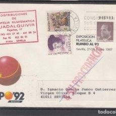 Sellos: ESPAÑA S.E.P. ..6 CIRCULADO, EXPO 92, EXP. FIL. RUMBO AL 92, SEVILLA, REMITE FIL. NUM. GUADALQUIVIR. Lote 132645462