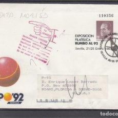 Sellos: ESPAÑA S.E.P. ..6 CIRCULADO DEVUELTO USA, EXPO 92 EXP FIL RUMBOL 92 SEVILLA, REMITE EXPO 92. Lote 132646102
