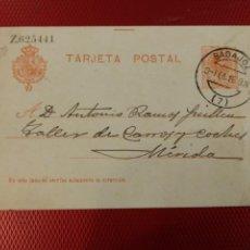 Selos: ENTERO POSTAL ALFONSO XII CIRCULADO CON MATASELLO DE BADAJOZ. . Lote 132666806