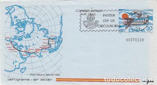 AEROGRAMA EDIFIL 202, RAID MADRID-MANILA EN 1926, PRIMER DIA DE CIRCULACION DE 30-6-1981 (Sellos - España - Entero Postales)