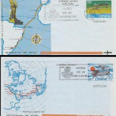 Sellos: AEROGRAMA EDIFIL 201/2, RAID PALOS DE MOGUER-BUENOS AIRES Y RAID MADRID-MANILA, PRIMER DIA 30-6-1981. Lote 133223714