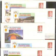 Sellos: SEP 58 ENTERO POSTAL EXPO Y FERIA VALENCIA 2000 NUEVOS 5 SOBRES. Lote 135099186