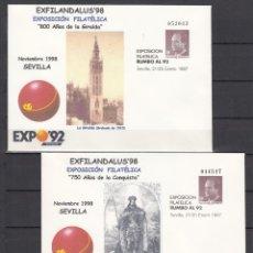 Sellos: .S.E.P. 6A/B EXPO 92 PREIMPRESO EXFILANDALUS 98 750 AÑOS CONQUISTA SEVILLA, 800 AÑOS DE LA GIRALDA. Lote 136495778