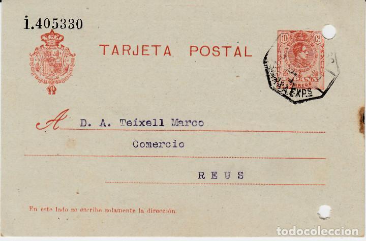 ENTERO POSTAL DE JOSE CUBELLS MIR EN MORA LA NOVA - 1919- CON MATASELLOS AMB. MARSA EXPSO (Sellos - España - Entero Postales)