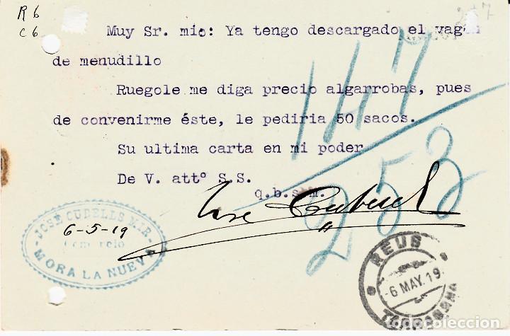 Sellos: ENTERO POSTAL DE JOSE CUBELLS MIR EN MORA LA NOVA - 1919- CON MATASELLOS AMB. MARSA EXPSO - Foto 2 - 137905898