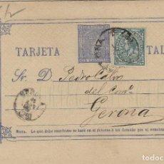 Sellos: ENTERO POSTAL .- ALFONSO XII AÑO 1875 Nº ED 8 - CIRCULADO BARCELONA / GERONA FRANQUEO COMPLEMENTARIO. Lote 138705138