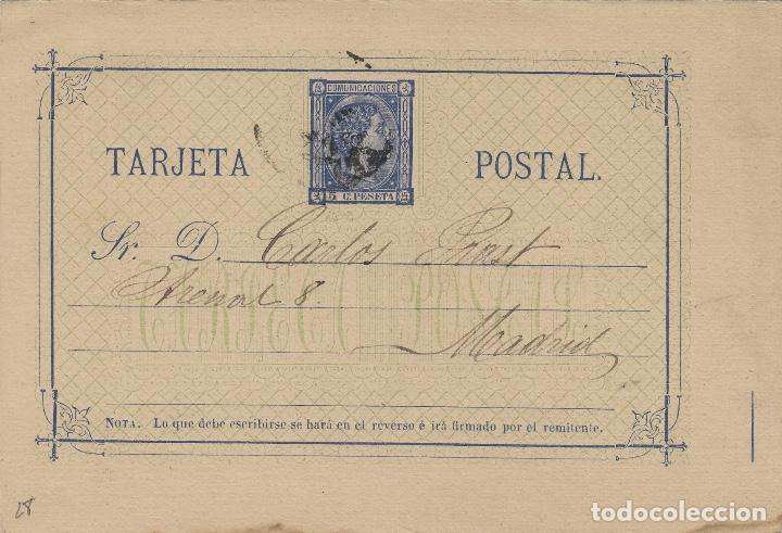 ENTERO POSTAL .- ALFONSO XII AÑO 1875 Nº ED 8 - CIRCULADO SEVILLA / MADRID (Sellos - España - Entero Postales)