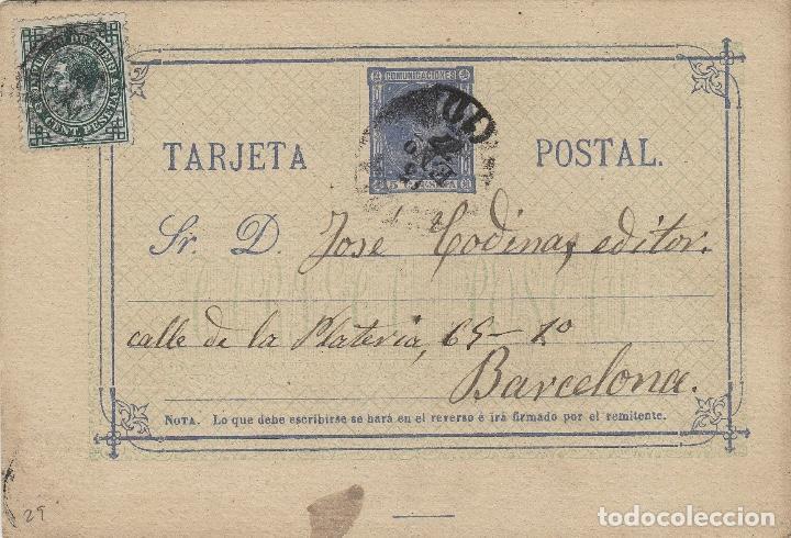 ENTERO POSTAL .- ALFONSO XII AÑO 1875 Nº ED 8 - CIRCULADO CORREO INTERIOR BARCELONA (Sellos - España - Entero Postales)