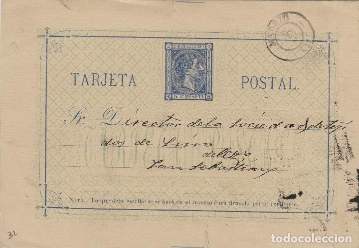 ENTERO POSTAL .- ALFONSO XII AÑO 1875 Nº ED 8 - CIRCULADO MADRID / SAN SEBASTIAN (Sellos - España - Entero Postales)