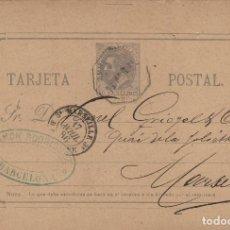Sellos: ENTERO POSTAL -ALFONSO XII AÑO 1882 Nº ED 11- BARCELONA / FRANCIA MAT AMBULANTE . VARIEDAD. Lote 138708746