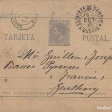 Sellos: ENTERO POSTAL -ALFONSO XII AÑO 1882 Nº ED 11- MADRID / FRANCIA . VARIEDAD. Lote 138709270