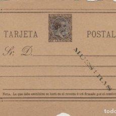 Sellos: TARJETA / ENTERO POSTAL .- ALFONSO XIII AÑO 1889 Nº ED 19 M - CON SOBREIMPRESIÓN MUESTRAS . Lote 138824022